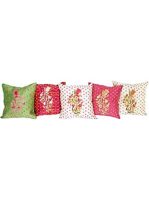 Lot of Five Cushion Covers from Kashmir with All-Over Ari Embroidery
