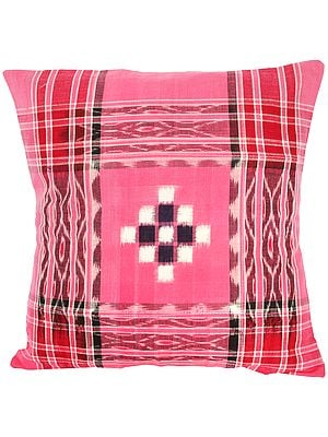 Cushion Cover from Hyderabad with Ikat Weave and Stripes