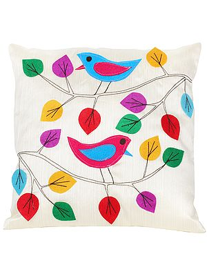 Italian-Straw Cushion Cover with Applique Birds and  Leaves