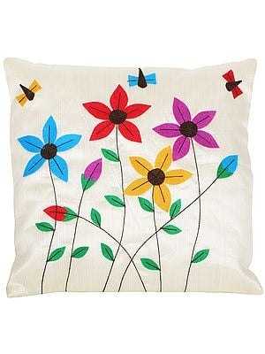 Ivory Cushion Cover with Applique Flowers and Bees