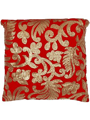 Cushion Cover with Sequins Embroidered Floral Motifs