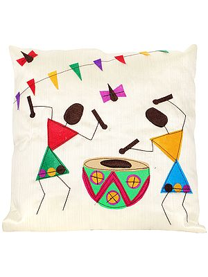 Banana-Crepe Cushion Cover with Applique Village Folks