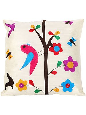 Banana-Cream Floral Cushion Cover with Applique Birds and Butterflies