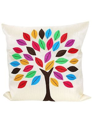 Off-White Cushion Cover with Applique Tree of Life