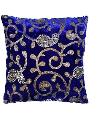 Cushion Cover with Zari-Embroidered Paisleys and Sequins
