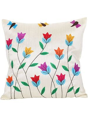 Vanilla-Cream Cushion Cover with Applique Flowers and Bees