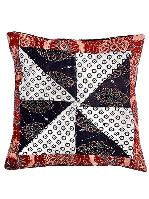 Tandori-Spice Cushion Cover  with Patchwork and Kantha Embroidery