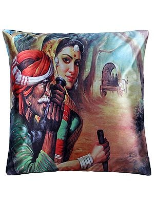 Cushion Cover from Jaipur with Digital-printed Village Folks
