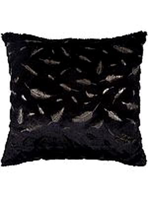 Cushion Cover with Printed Golden Feathers and Faux Fur