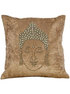 Buddha Cushion Covers Embellisehd with Pearls and Bead Strings