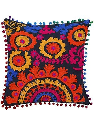 Jet-Black Cushion Cover with Multicolor Floral Ari Embroidery