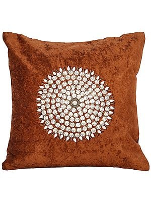 Cushion Cover with Stones and Bead String Studded Chakra
