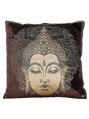 Golden Printed Buddha Cushion Cover
