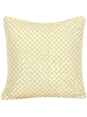 Cream Cushion Cover with Zari-Embroidry and Sequins