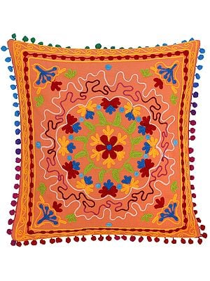 Melon Cushion Cover with Multicolor Ari-Embroidered Mandala