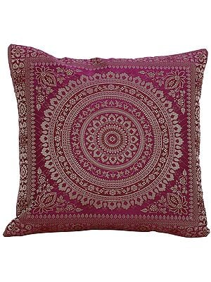 Cushion Cover from Banaras with Giant Woven Mandala