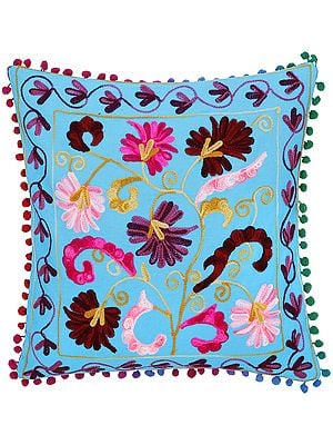 Cyan-Blue Cushion Cover with Ari-Emroidered Flowers in Mutlicolor Thread
