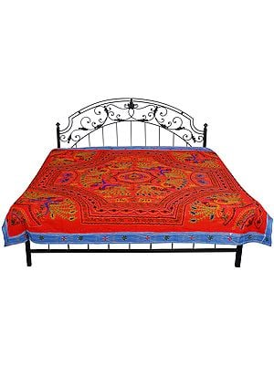 Gujarati Bedspread with Metallic Thread Embroidered Peacocks and Folk Motifs