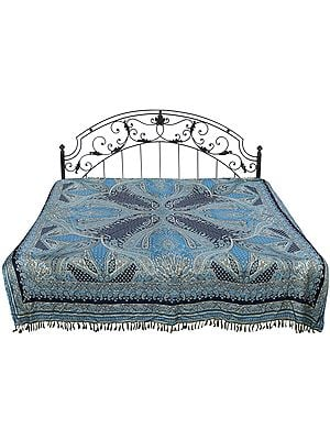 Bluejay Jamawar Reversible Bedspread from Amritsar with Woven Paisleys