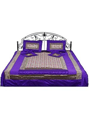 Five-Piece Purple-Ivory Brocaded  Bedcover with Embroidered Flowers All-Over