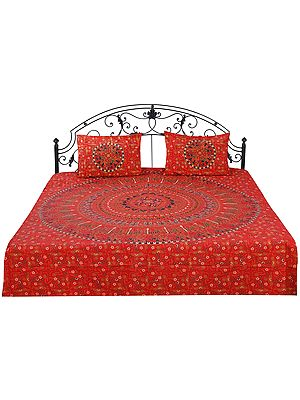 Bedspread from Jaipur with Printed Animal Mandala