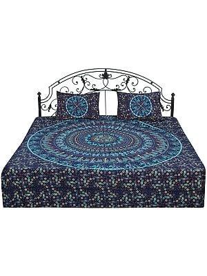 Bedspread from Jaipur with Printed Animal Mandala