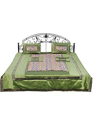 Pista-Green Brocaded Bedcover with Embrodiered Flowers All-Over
