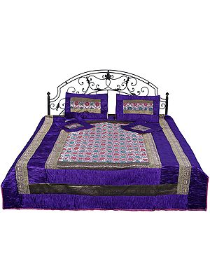 Ultra-Violet Brocaded Bedspread with Embroidered Flowers All-Over