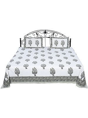 Lily-White Bedspread from Sanganer with Block-Printed Bushes