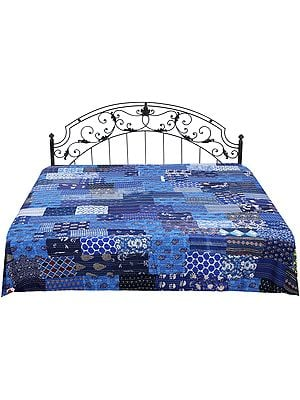 Floral Printed Bedcover from Amer with Patch-work and Kantha Straight Stitch