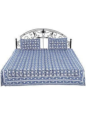True-Navy Bedspread from Sanganer with Printed Floral Vines All-Over