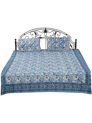 Smoke-Blue Sanganeri Bedspread with Printed Floral Vines