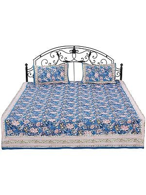 Celestial-Blue Sanganeri Bedspread with Screen-Printed Flower