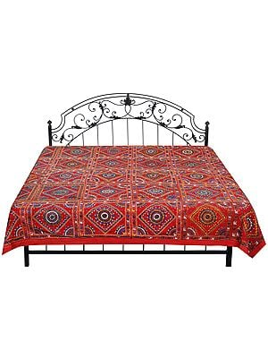 Bedcover from Jaipur with Embroidered Motifs and Mirrors