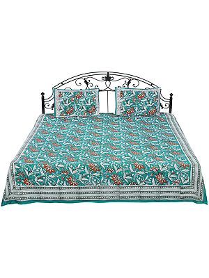 Deep-Sea Sanganeri Bedspread with Screen-Printed Flowers All-Over