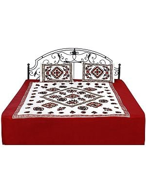 Cream and Maroon Bedcover from Gujarat with Embroidered Florals and Mirrors