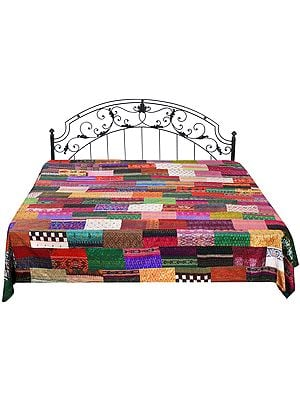 Multicolored Floral Printed Bedcover with Patch-work and Kantha Straight Stitch Embroidery