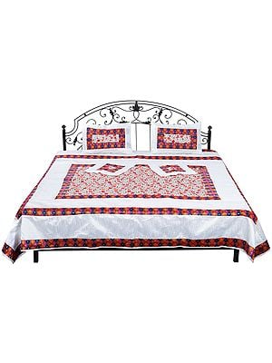 Bright-White Bedspread from Gujarat with Embroidered  Flowers and Patch Border
