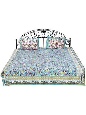 Turquoise Bedspread from Sanganer with Floral Screen Print