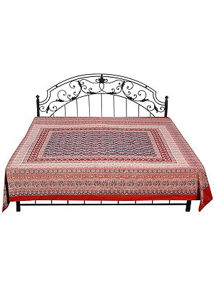 Poppy-Red Bagdoo Printed Bedcover from Amer with Kantha Straight Stitch Embroidery