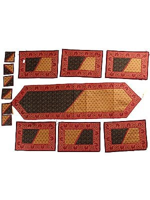 Thirteen Piece Tri-Color Banarasi Dinner Set with Golden Thread Weave and Brocaded Border