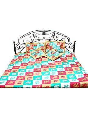 Tri-Color Five-Piece Patchwork Bedcover from Kashmir with Ari-Embroidery
