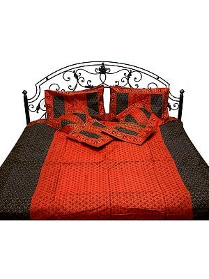 True-Red Seven-Piece Banarasi Bedcover with Tanchoi Weave and Brocaded Border