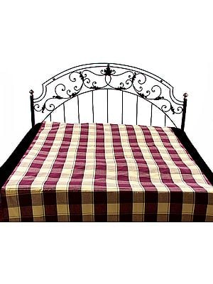 Yellow and Brown Single-Bed Bedspread with Giant Check