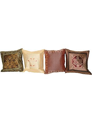 Lot of Four Banarasi Cushion Covers with Brocade Weave