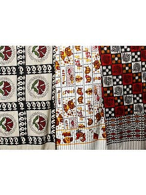 Lot of Three Floral Printed Bedspreads from Pilkhuwa
