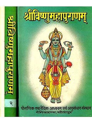 श्री विष्णुमहापुराणम्:  The Vishnu Purana (Set of Two Volumes) - An Old and Rare Book
