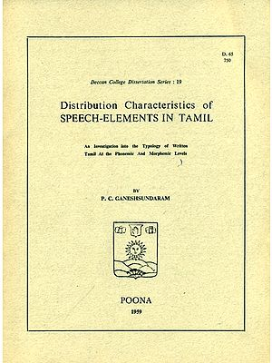 Distribution Characteristics of Speech - Elements in Tamil (An Old and Rare Book)