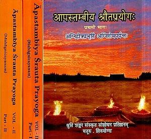 आपस्तम्बीय श्रौतप्रयोग: Shrauta Prayoga According to Apastamba in 2 Volumes (Rare Book)