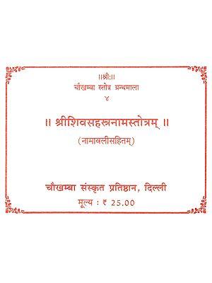 श्रीशिवसहस्त्रनामस्तोत्रम्: Sri Shiva Sahastranama Stotram